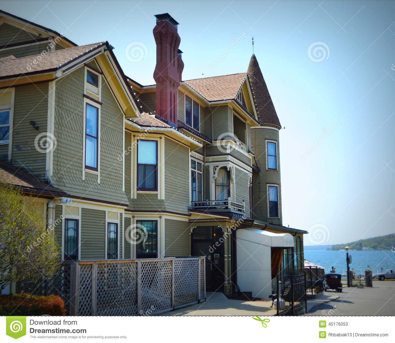 Lake Mansion: Baker House Victorian Mansion Back Stock Photo
