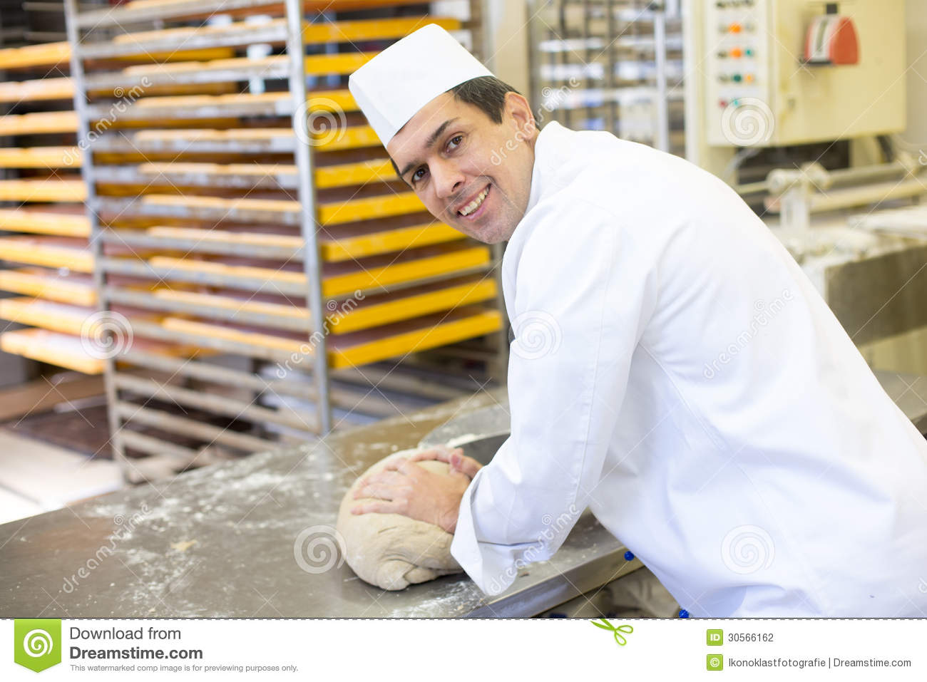 Baker Kneading Dough In Bakery Stock Photo - Image of manufacturing, flavor: 30566162