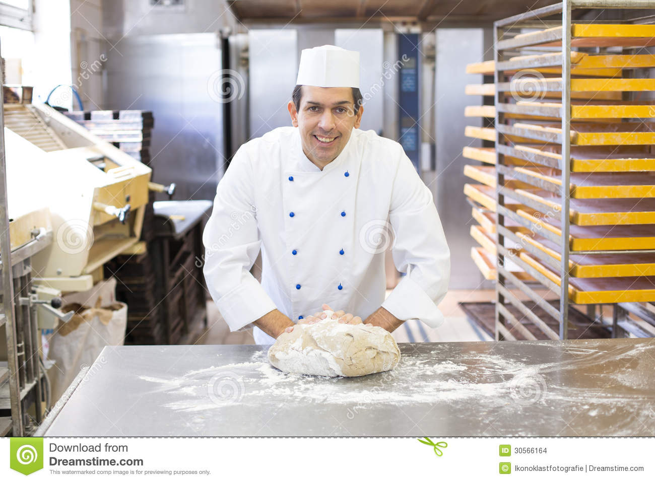 Baker Kneading Dough In Bakery Stock Images - Image: 30566164