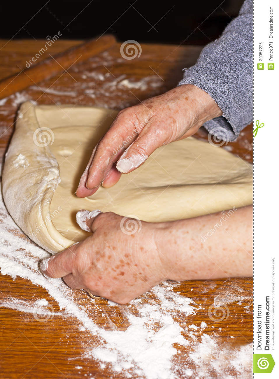 Baker Kneading Dough Royalty Free Stock Image - Image: 30057226