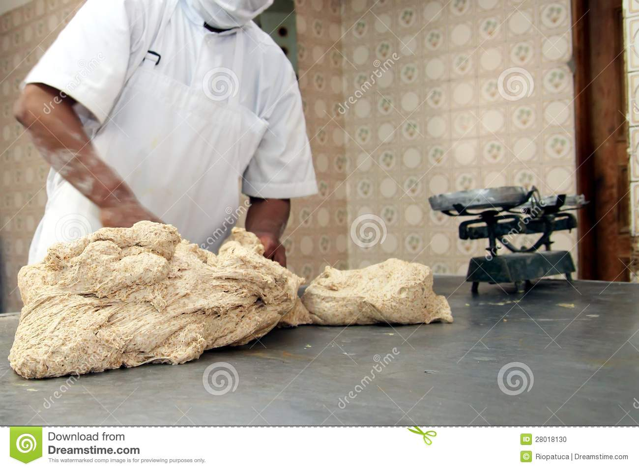 Baker Kneading Raw Dough Stock Photo - Image: 28018130
