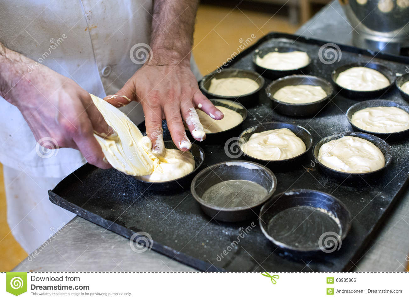 Baker making pastries in a bakery