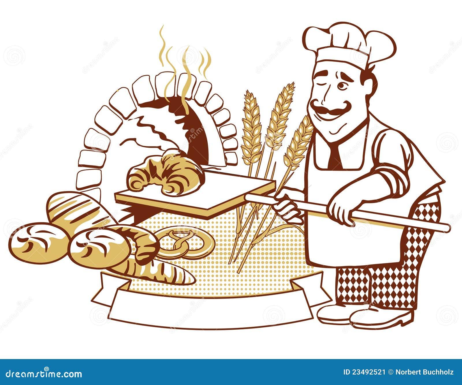 Arbeitsblatt Clipart : Baker at the oven stock vector illustration of boarding