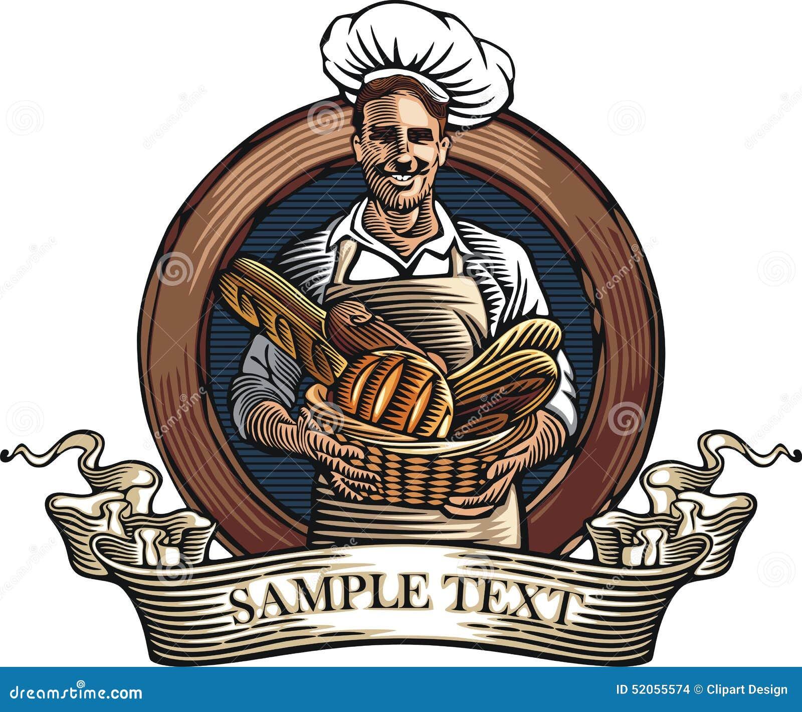 Baker Vector Illustration in Woodcut Style