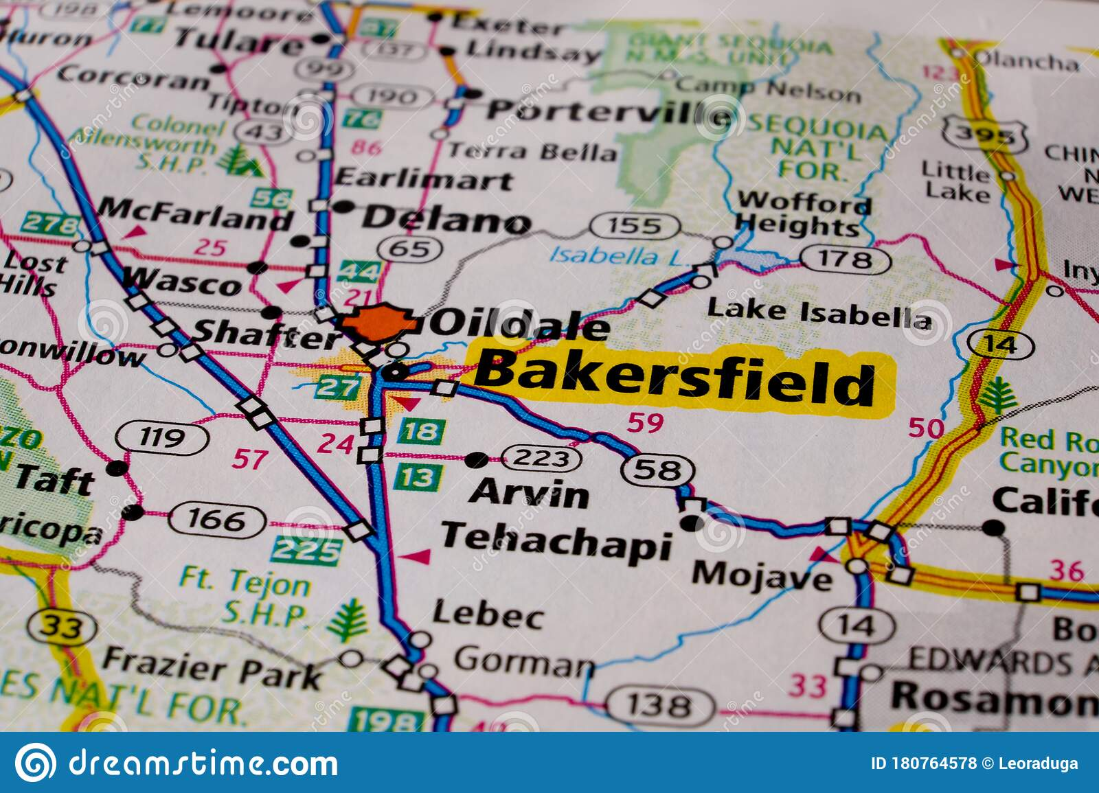 Bakersfield City On Usa Travel Map Stock Photo Image Of Cartography Closeup 180764578