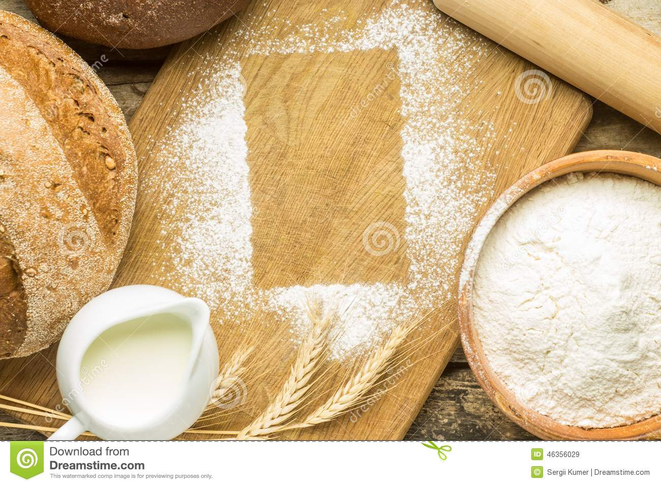 Bakery Background With Flour Frame On Board Stock Image