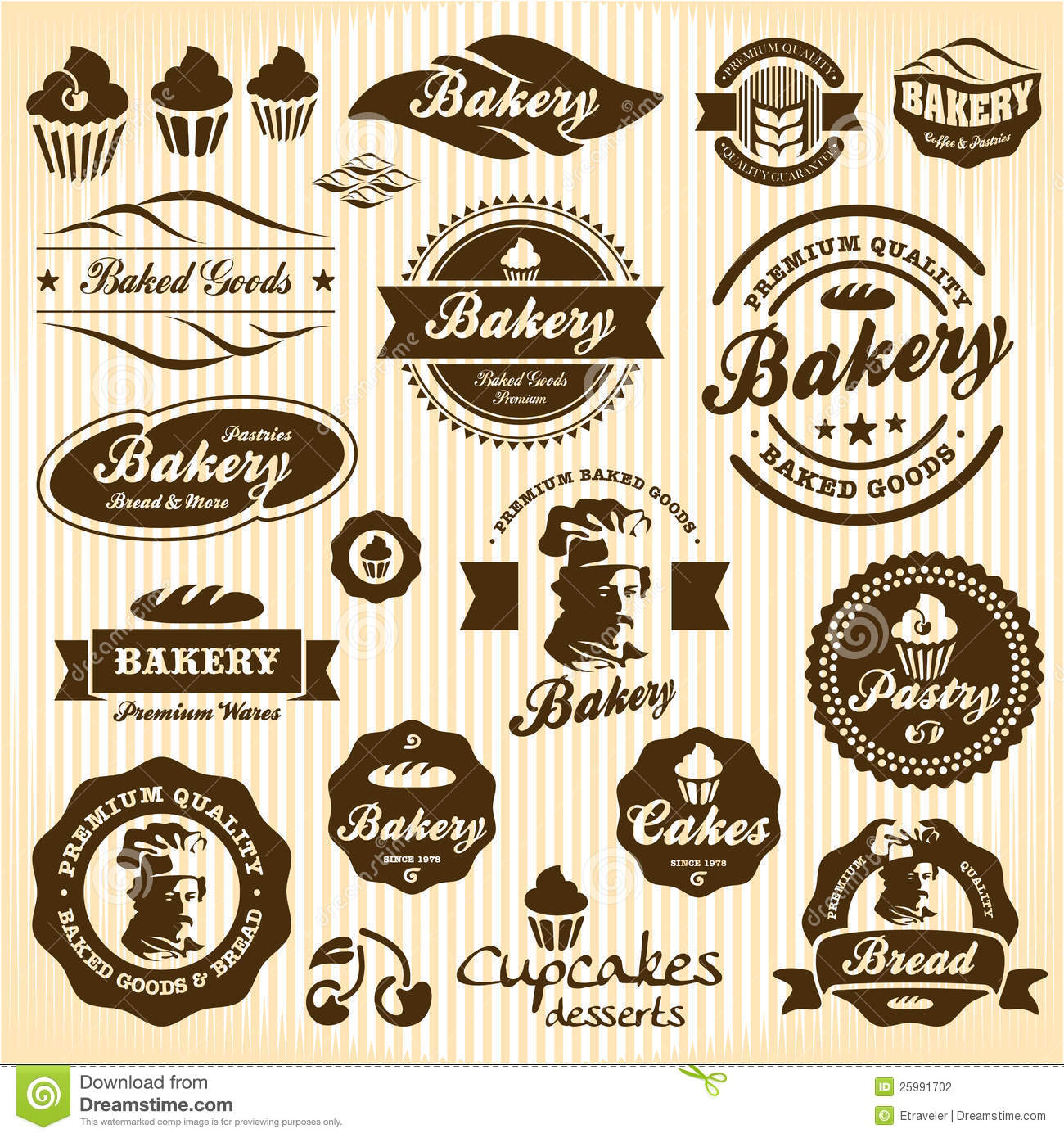 Bakery Bread Pastry badges and labels
