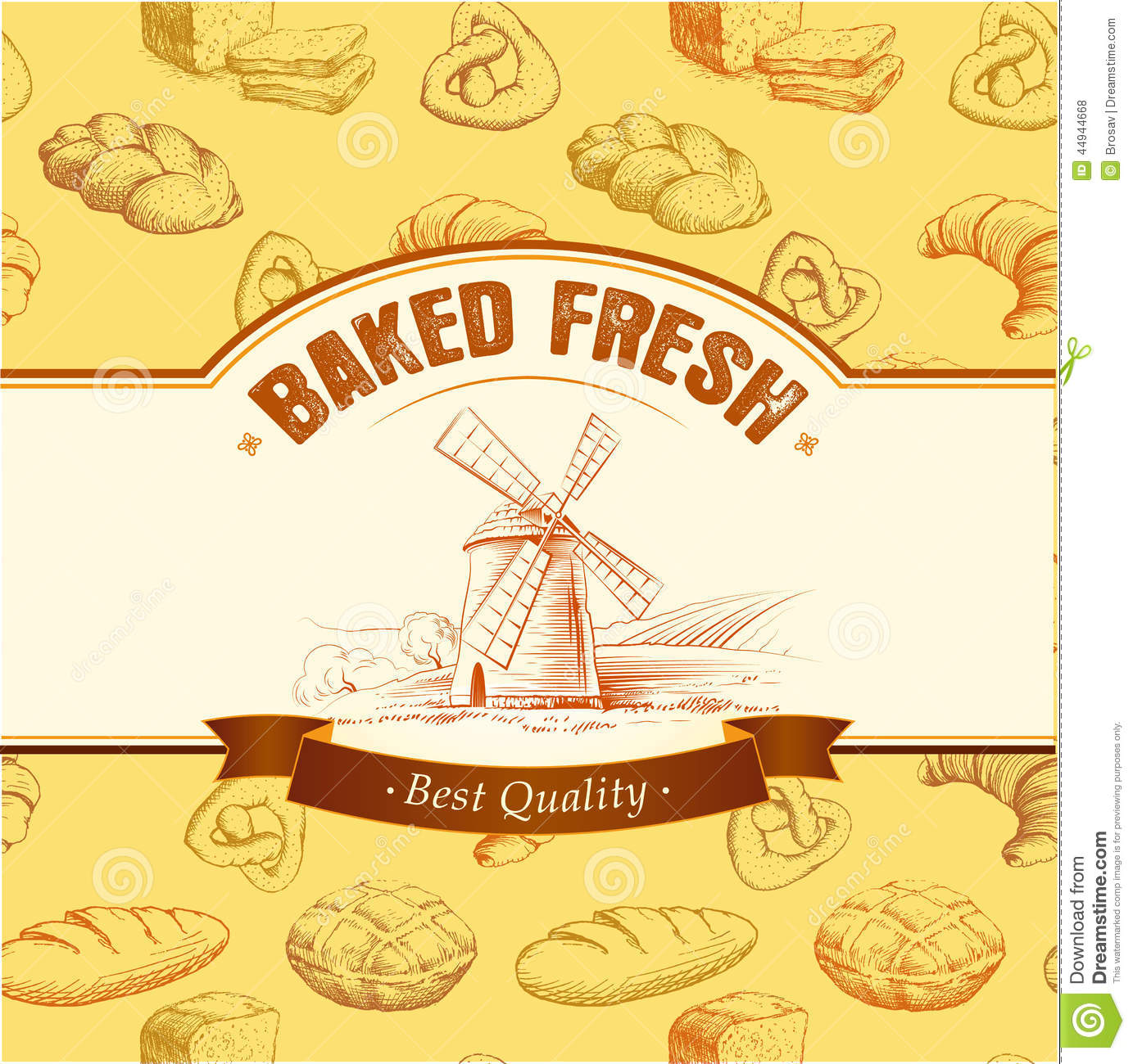 Bakery Bread Seamless Background Pattern Labels Pack For