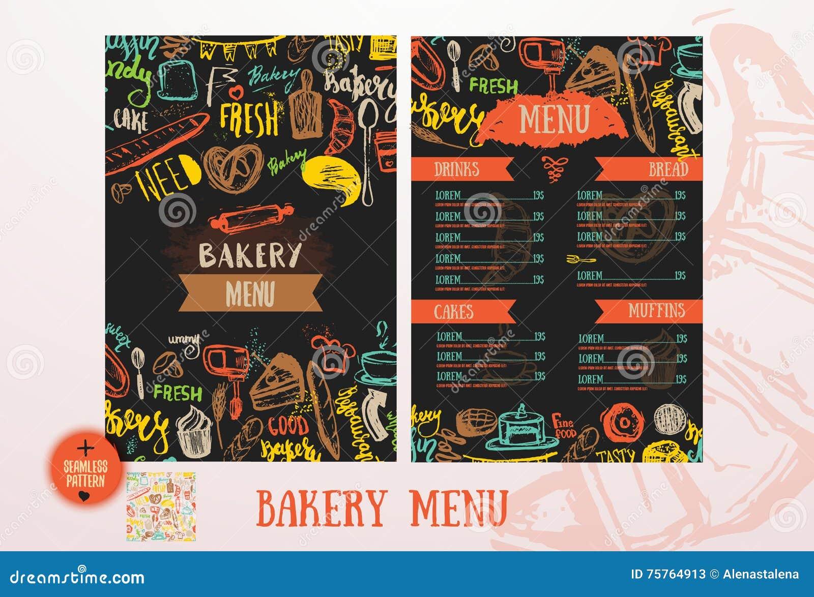 Bakery Cafe Menu Design Template Stock Vector Illustration Of