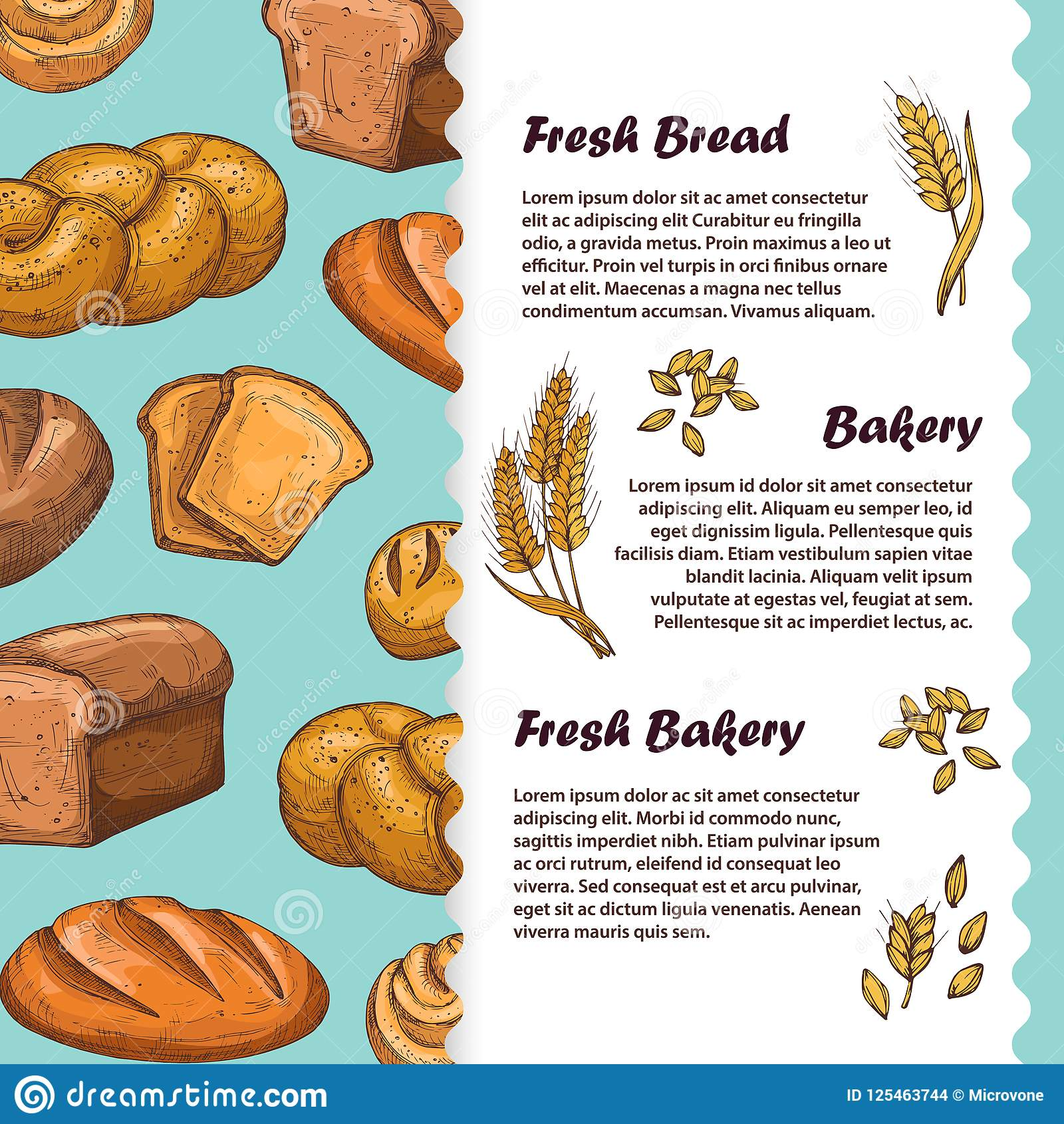 Bakery Cafe Menu Flyer Template With Vector Bread And Loaf Stock