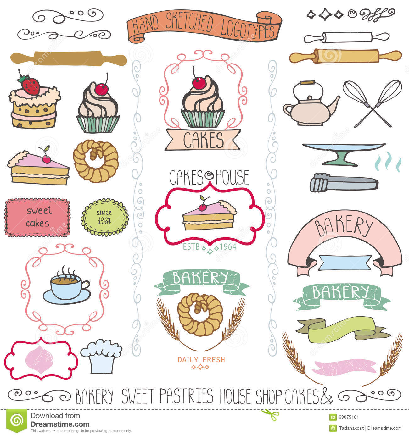 Bakery cakes labels elementsodle logo template stock vector bakery cakes labels elementsodle logo template royalty free vector pronofoot35fo Choice Image