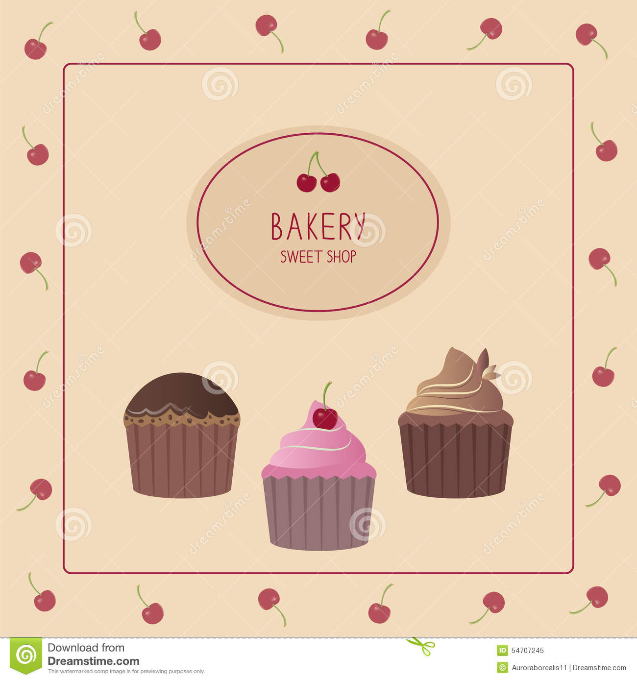 Bakery Design Template Cute Card With Cupcakes Stock Vector