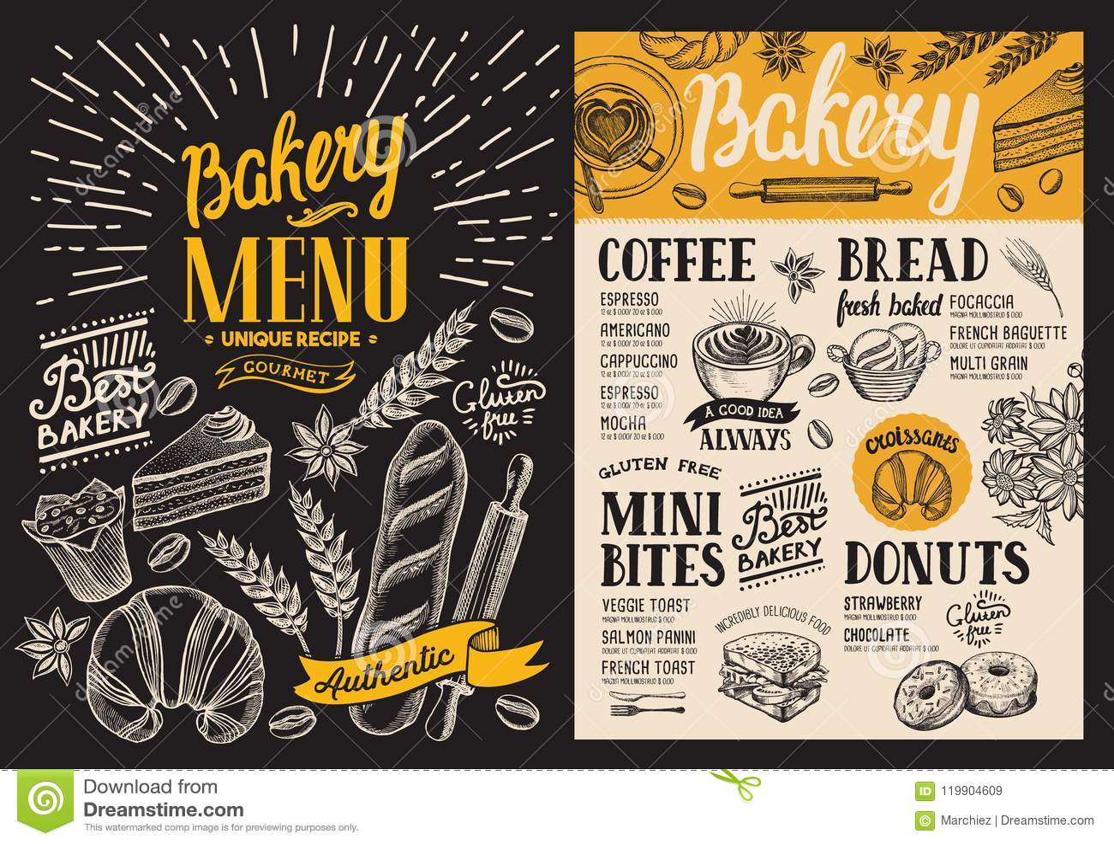 bakery dessert menu for restaurant on blackboard background des