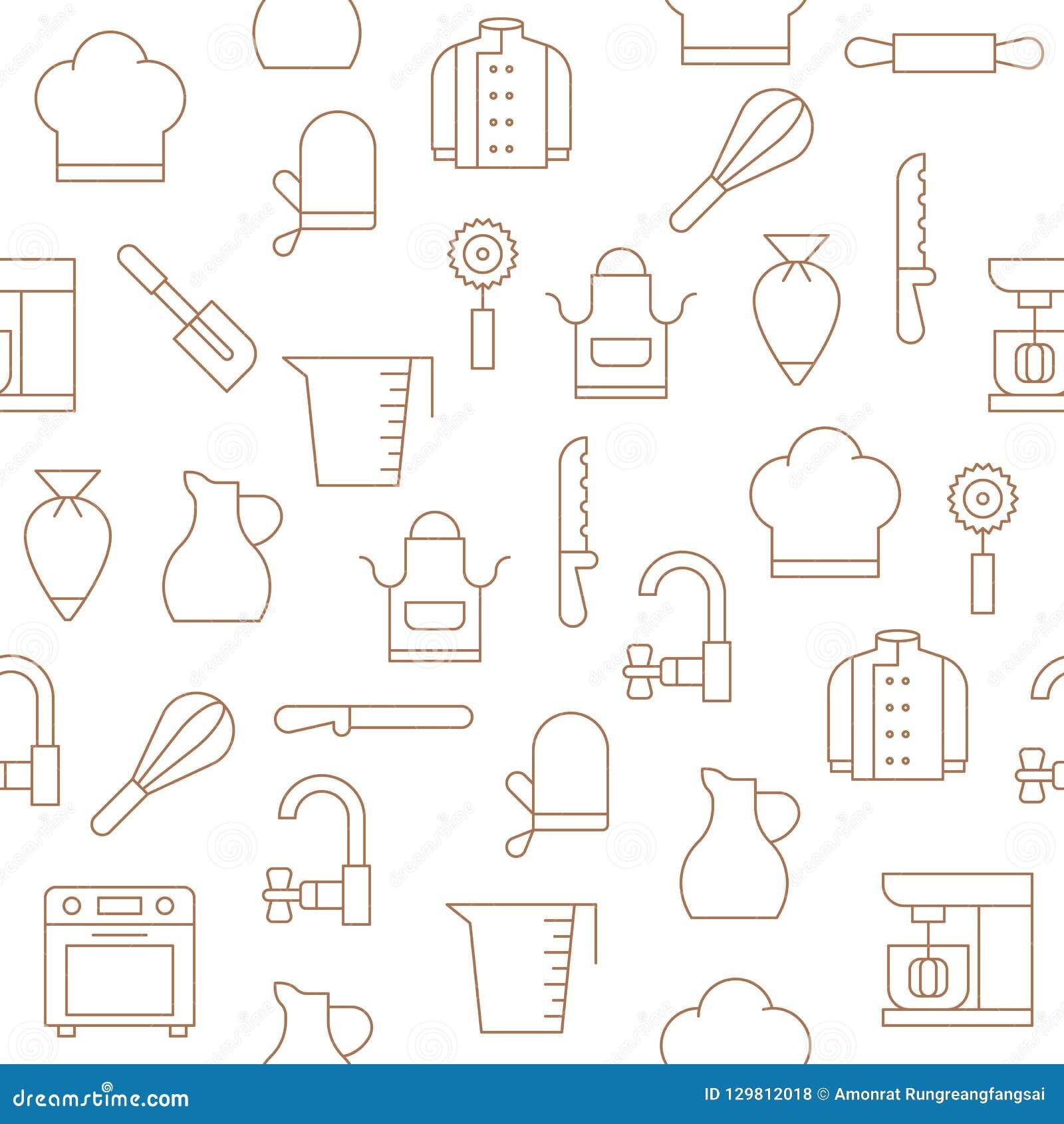 Bakery Equipment And Kitchen Utensils Seamless Pattern For Wallpaper