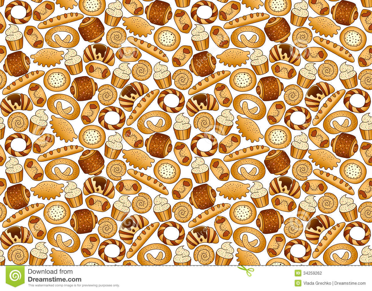 Bakery Foodstuffs Set On A White Background Stock Vector