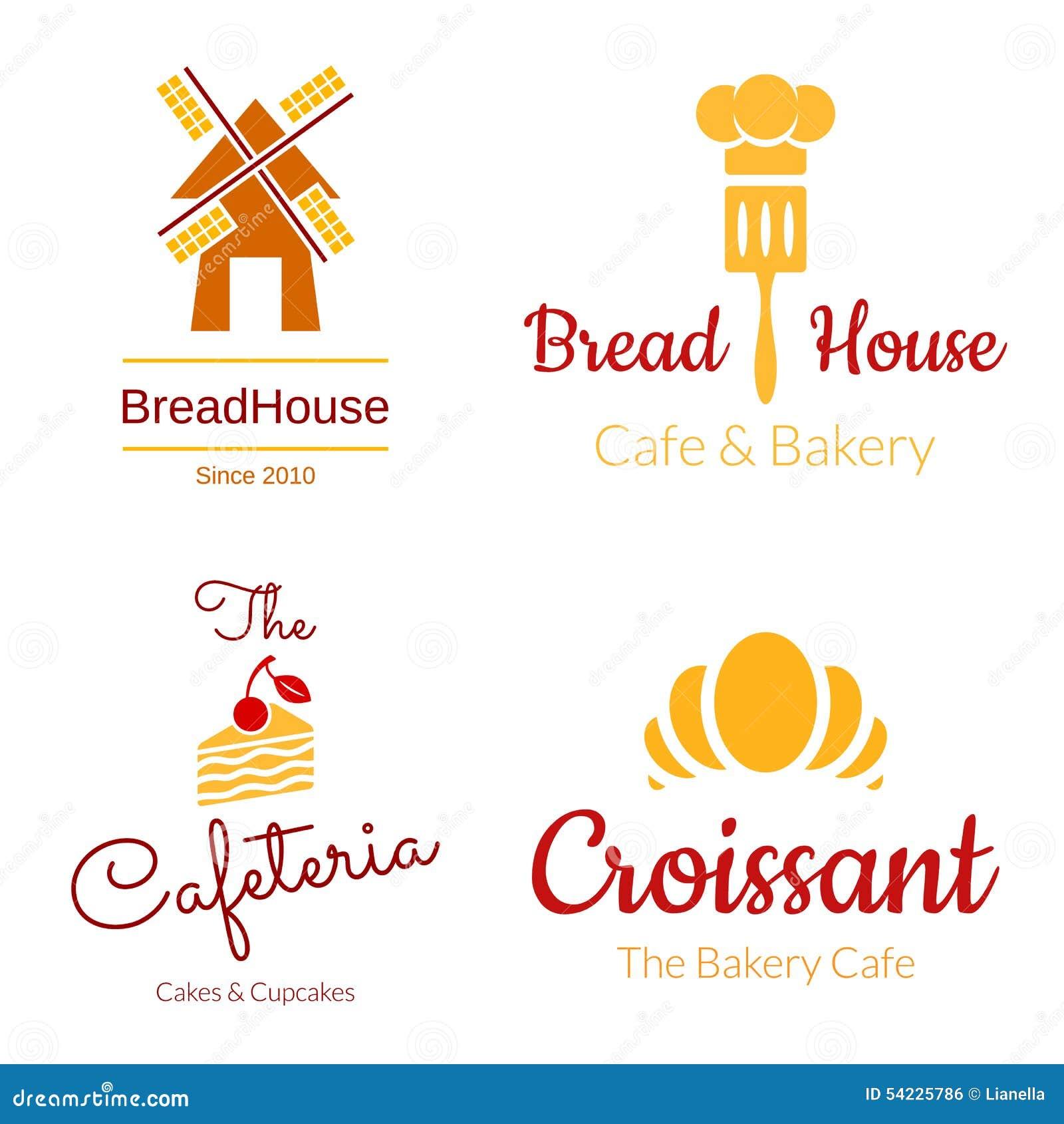Bakery logo set. Croissant, Cake, Mill Elements. Vector design.