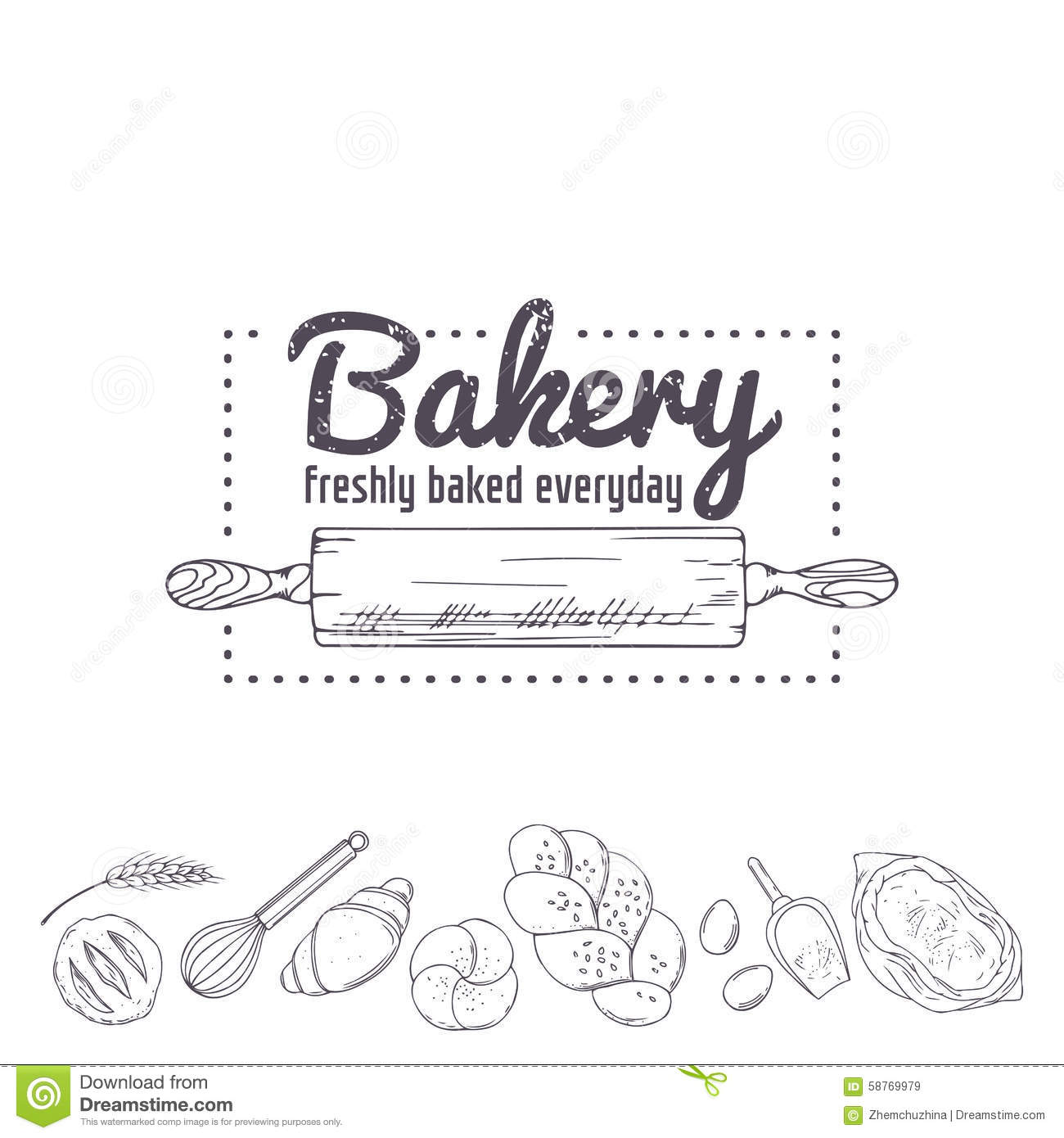 Bakery Logo Template. Hand Drawn Rolling Pin And Baking For Your ...