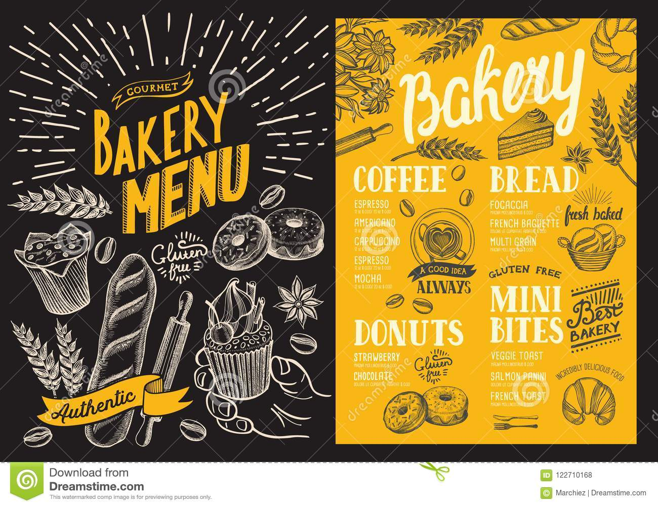 Bakery Menu For Restaurant Design Template With Food Hand Drawn Graphic Illustrations Vector Food Flyer For Bar And Cafe On Stock Vector Illustration Of Menu Hipster 122710168