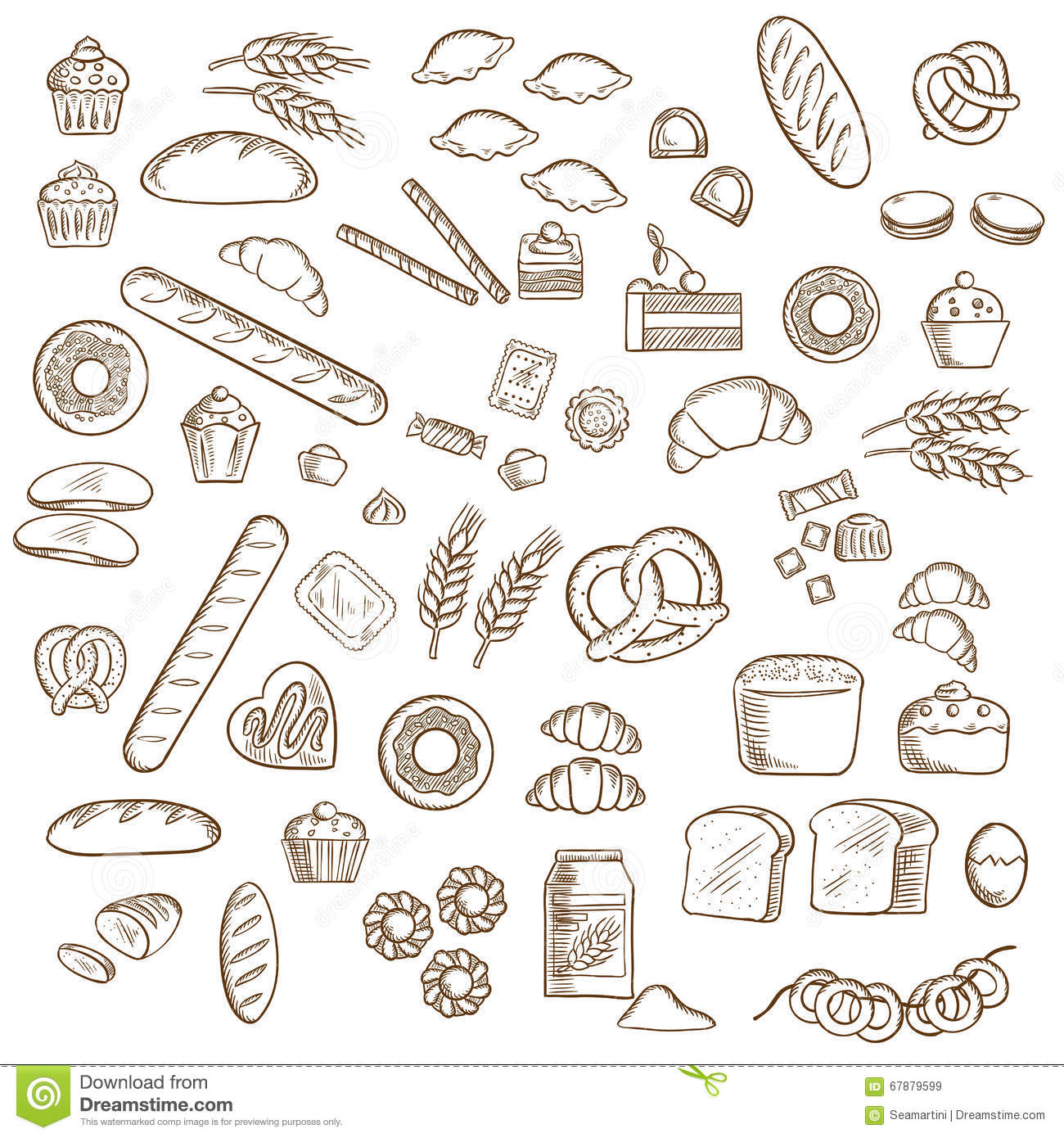 Bakery Pastry And Confectionery Sketches Stock Vector