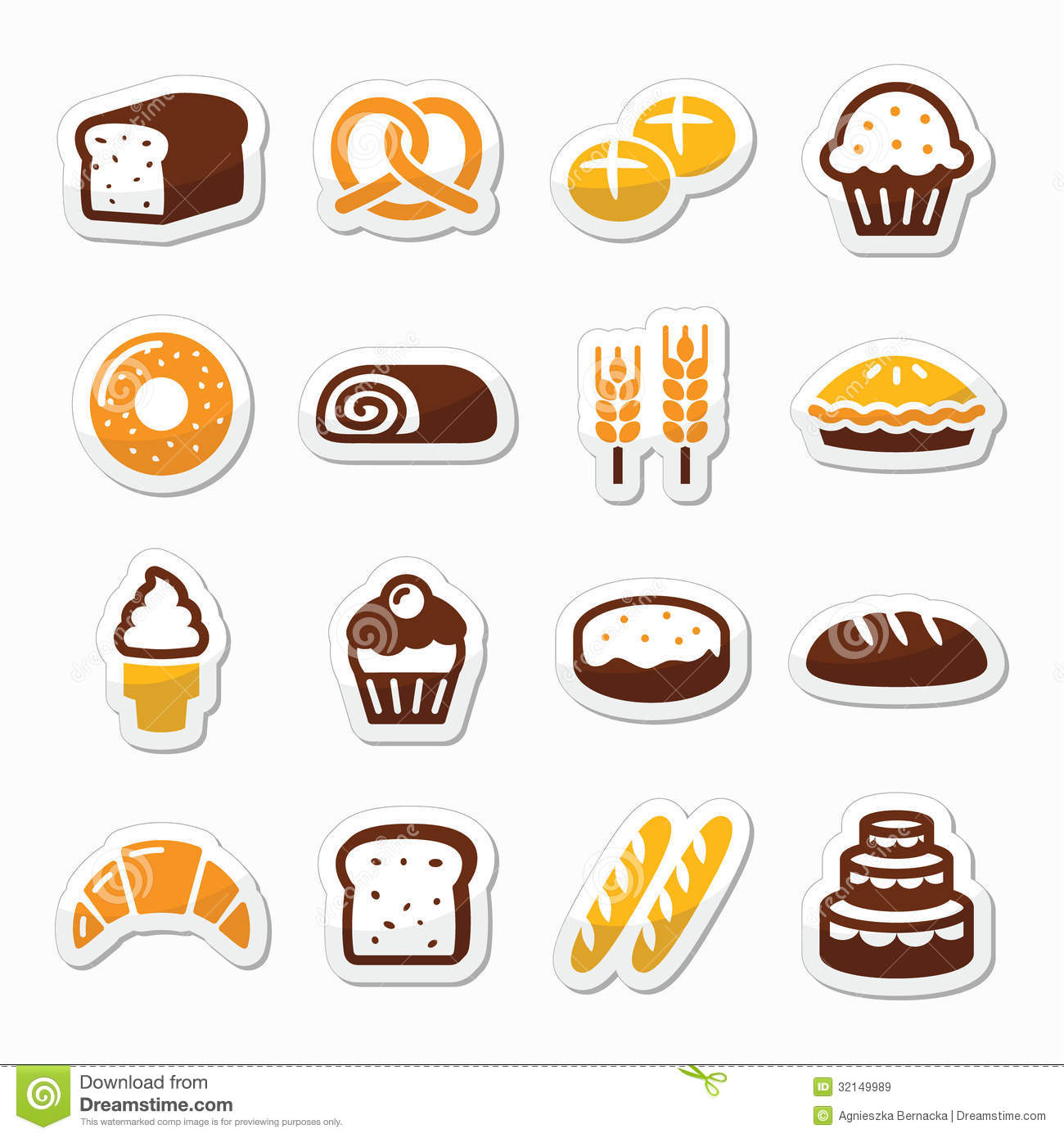 Bakery, Pastry Icons Set - Bread, Donut, Cake, Cupcake Royalty Free ...