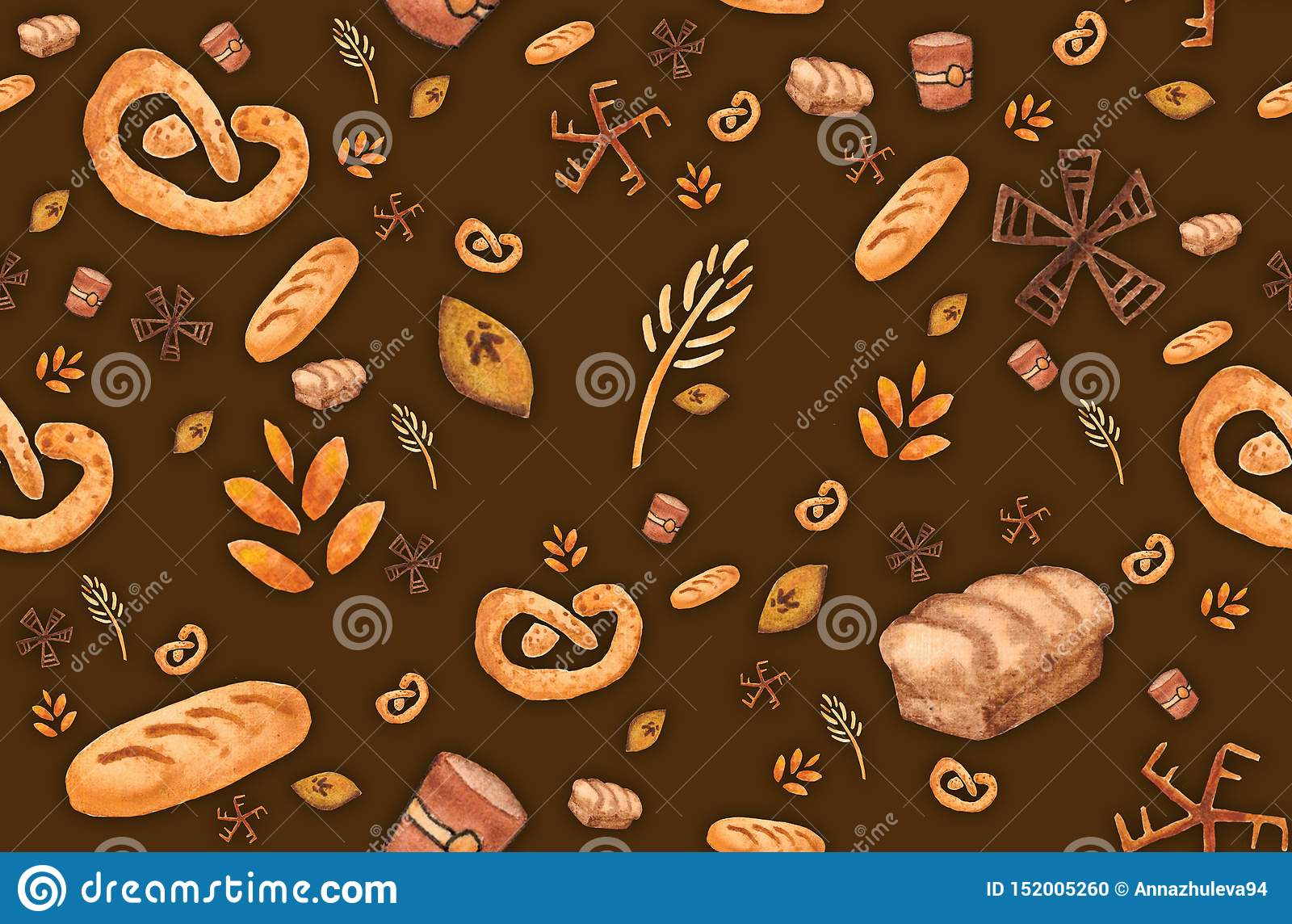 Bakery products, baking print. Pastry seamless pattern. Cute kitchen background