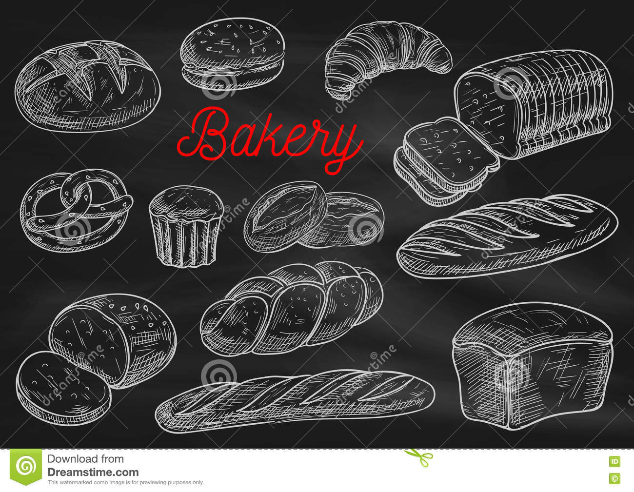 Bakery Products Chalk Sketches On Blackboard Stock Vector