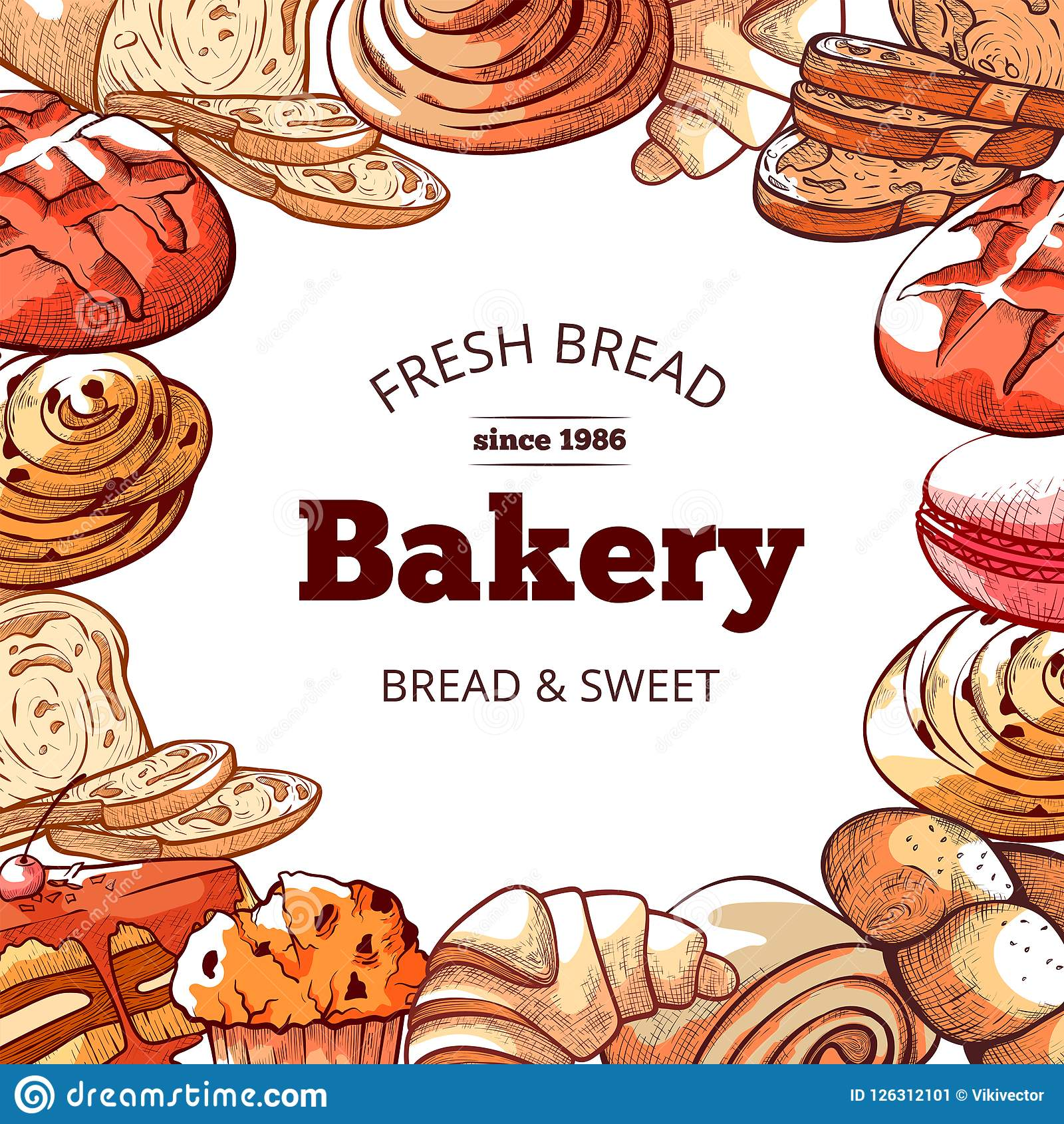 Bakery products, fresh and tasty bread background