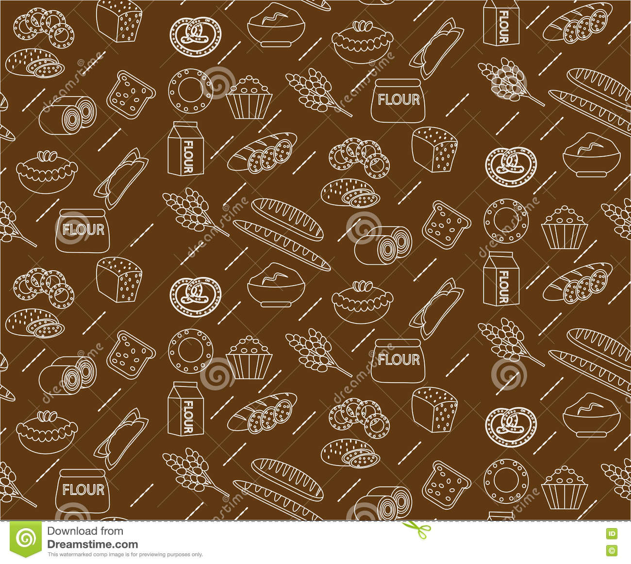 bakery seamless pattern line outline doodle style bread and