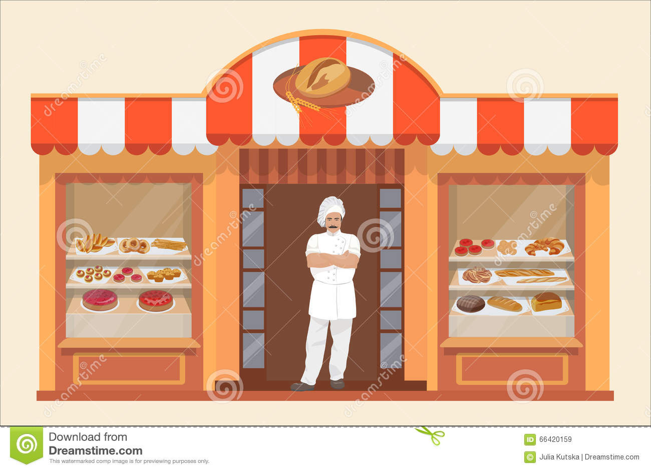 Bakery Shop Building With Bakery Products And Baker Stock