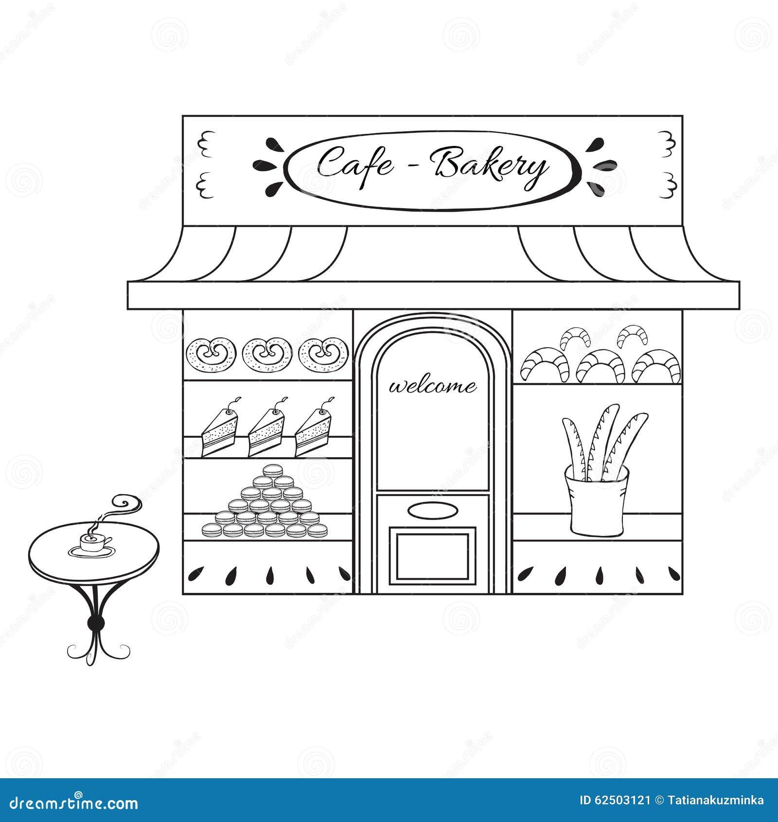 Bakery Shop Building Facade With Signboard Hand Stock