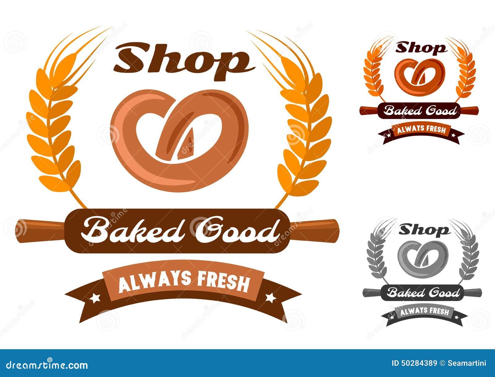 Bakery Shop Emblem Or Logo With Pretzel Stock Vector