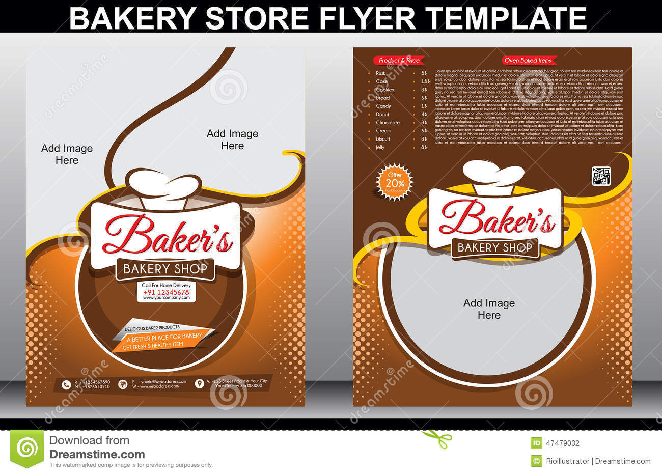 Bakery Shop Flyer Template & Magazine Cover Stock Vector