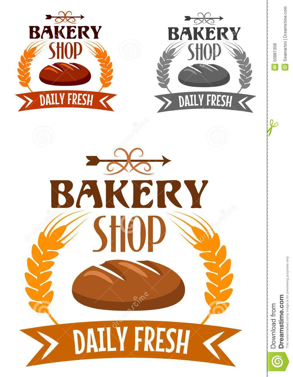 Bakery Shop Logo With Fresh Bread Stock Vector Image