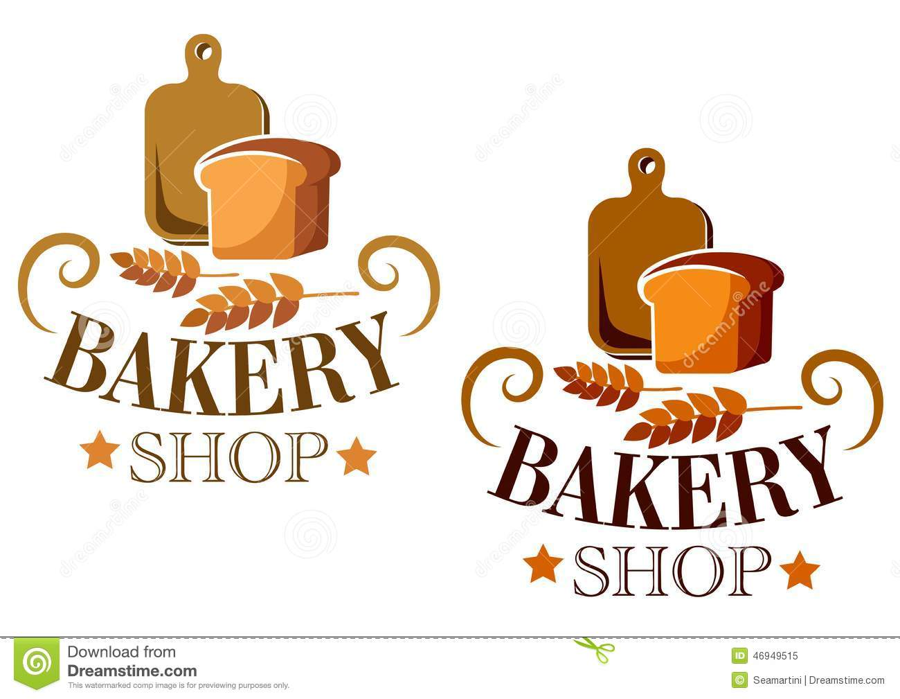 Bakery Shop sign or label with a loaf of bread and a cutting board ...