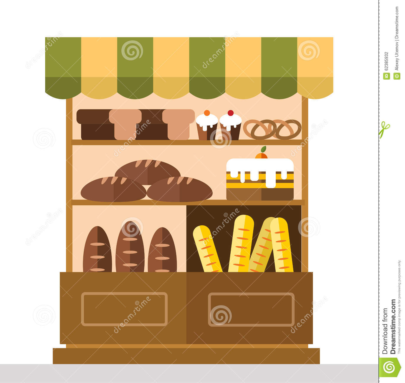 Bakery Shop Stall With Bakery Products Stock Vector Illustration