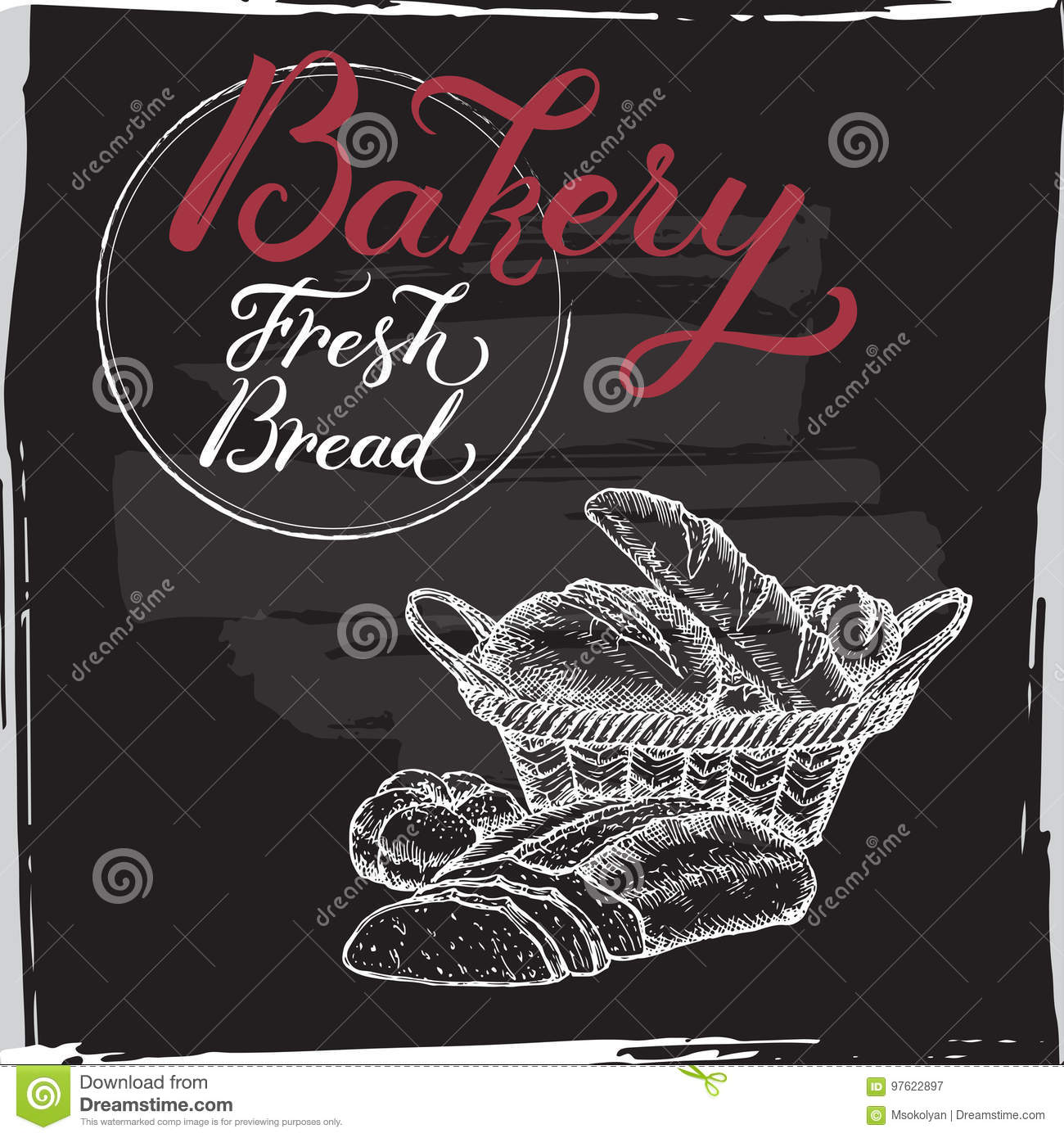 Bakery Template With Hand Lettering On Black Background Stock Vector ...