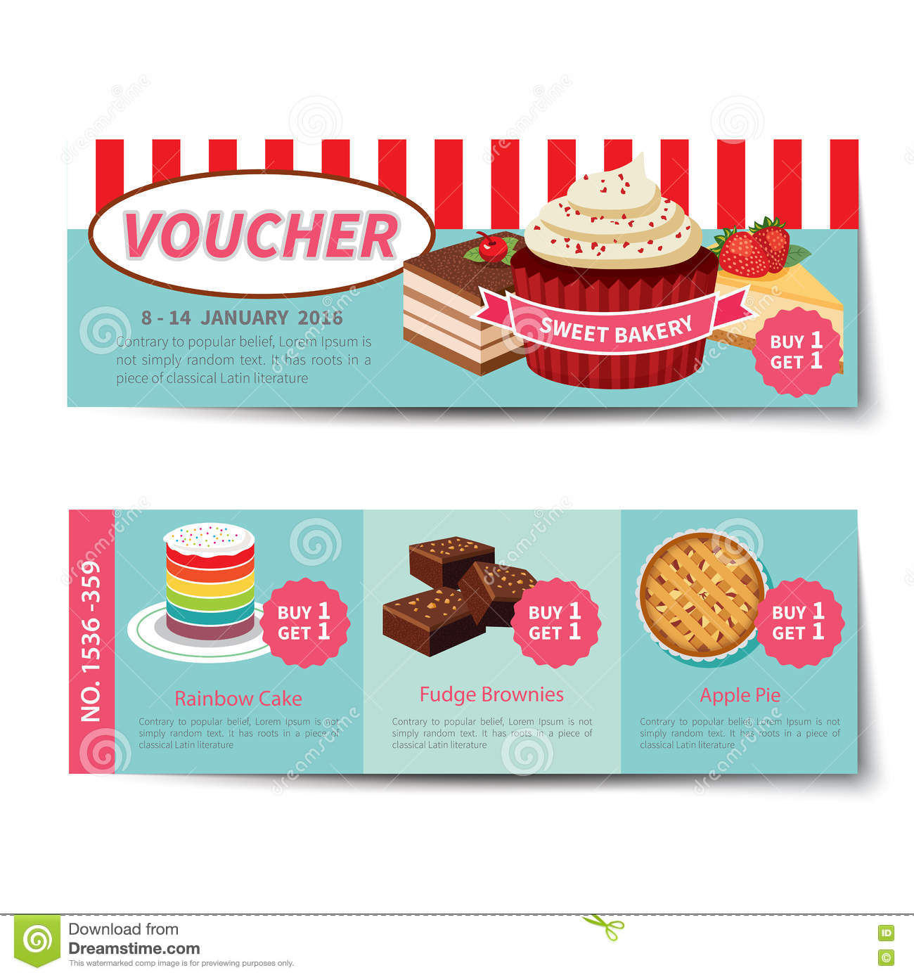 Bakery voucher discount template design stock vector illustration bakery voucher discount template design yelopaper Images