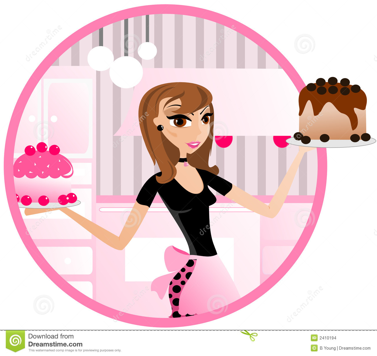 Bakery woman Holding Cakes stock vector. Image of funky ...