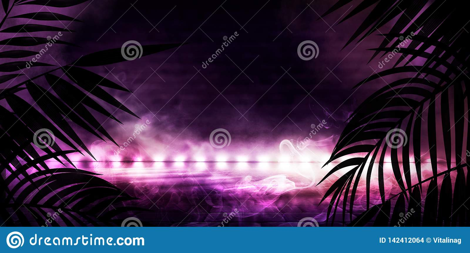Bakgrund av det mörka rummet, tunnel, korridor, neonljus, lampor, tropiska sidor