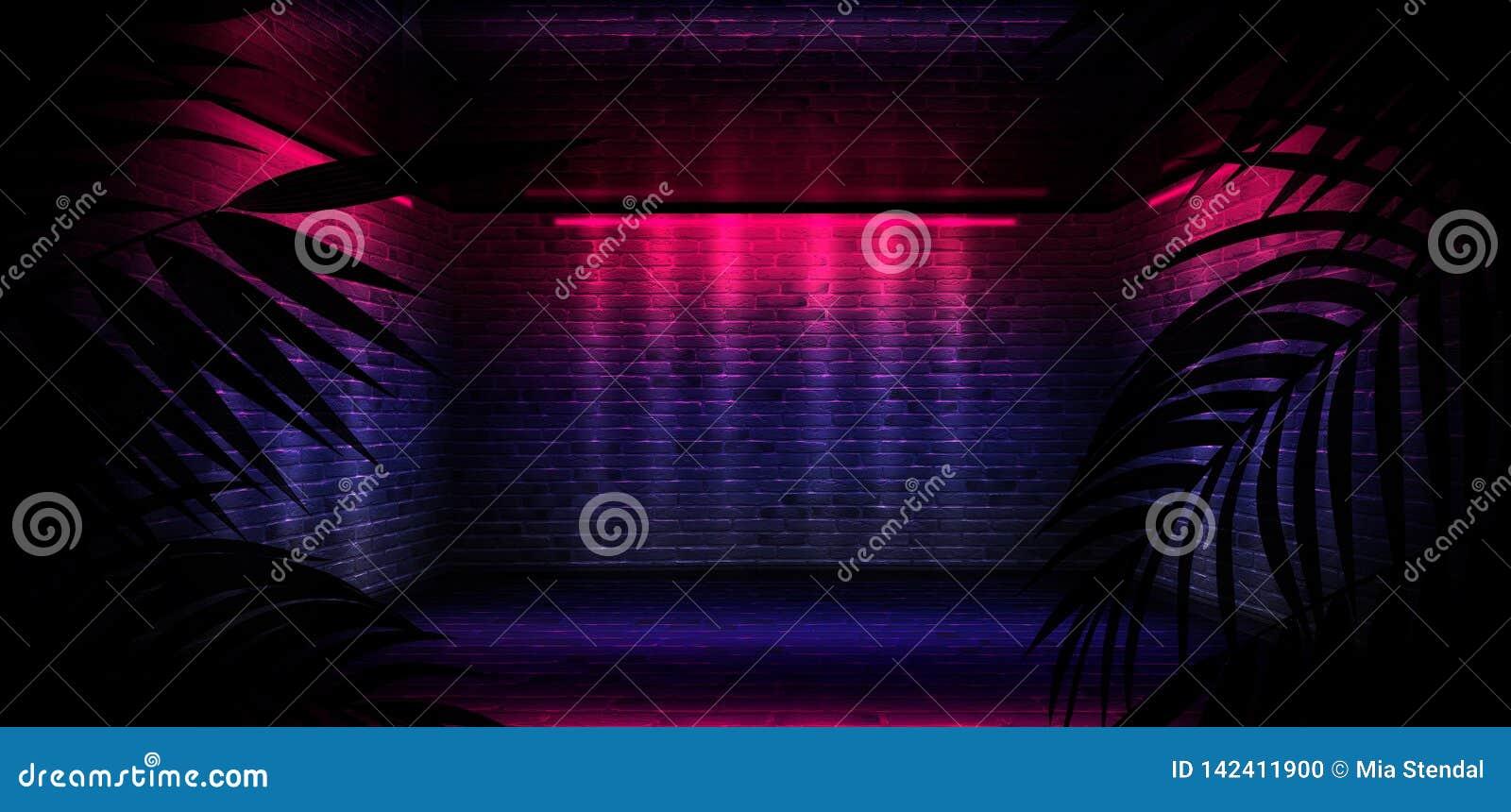 Bakgrund av det m?rka rummet, tunnel, korridor, neonljus, lampor, tropiska sidor