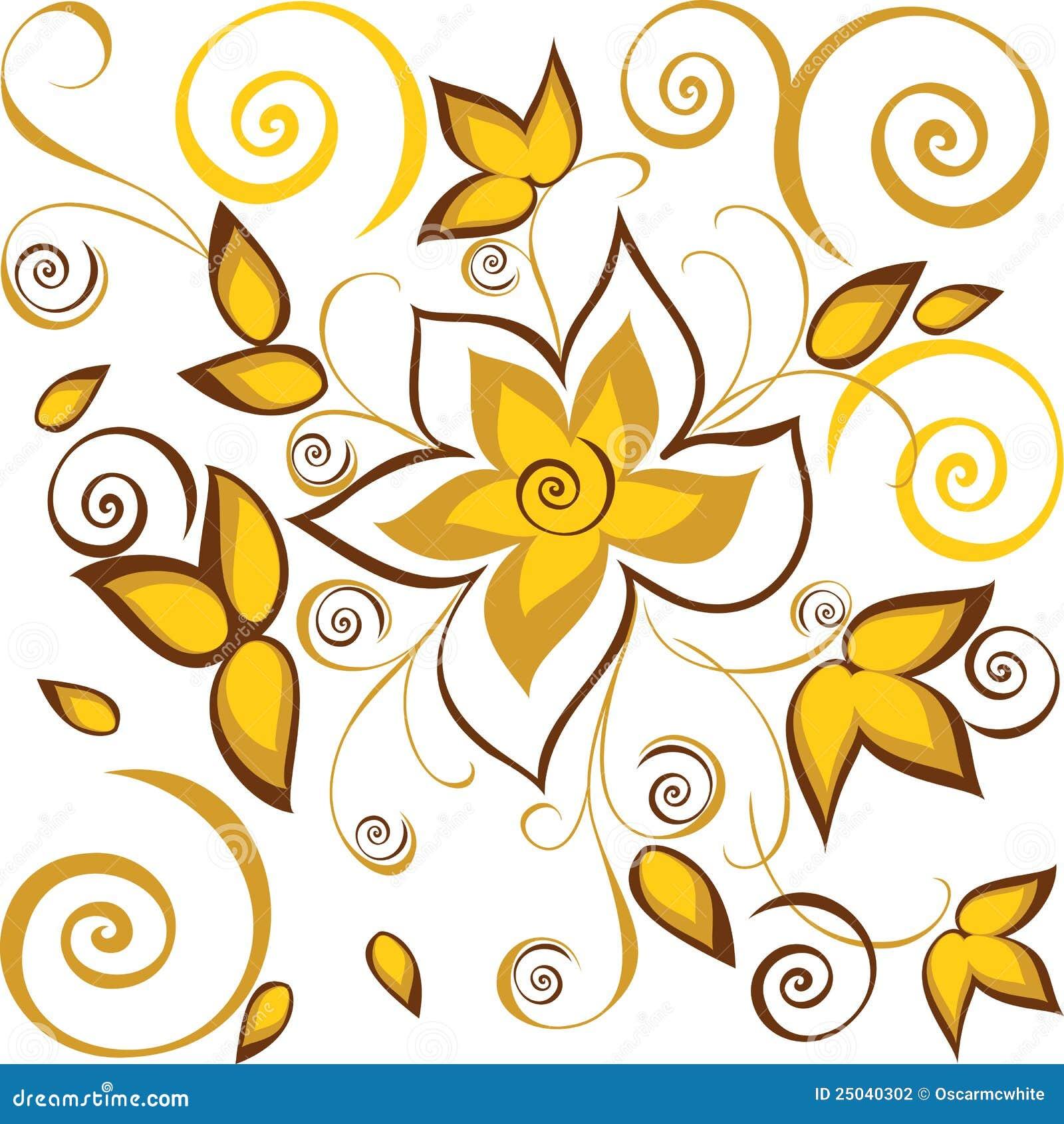 Bakgrund blommar seamless guld