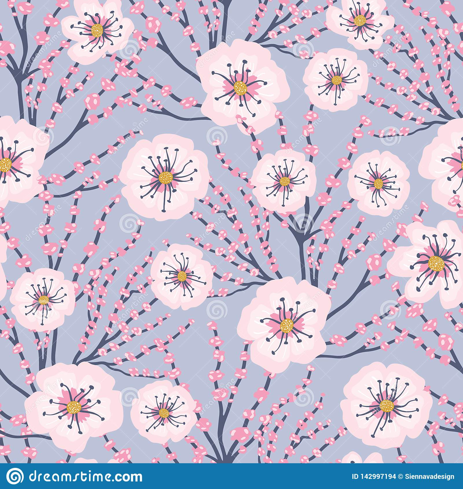 Bakgrund Cherry Blossom Meadows Seamless Pattern för rosa blommor för vektor blå
