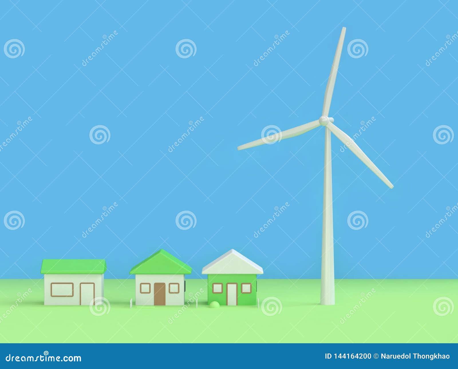 Bakgrund 3d för hus för vindturbin abstrakt grön blå att framföra, begrepp för jord för förnybara energikällormiljöräddning