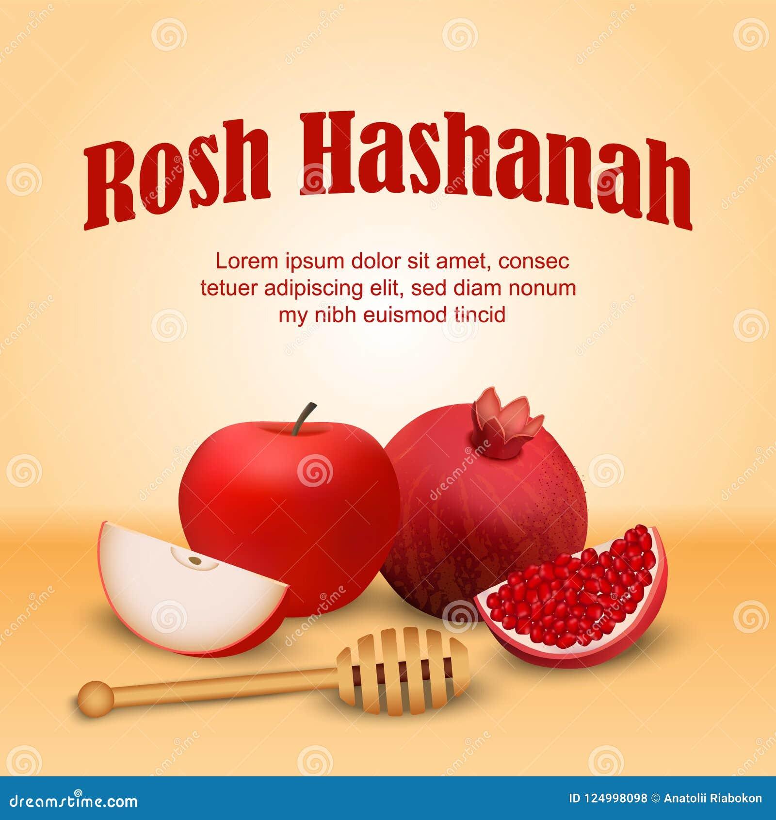 Bakgrund för begrepp för ferie för Rosh hashanah judisk, realistisk stil
