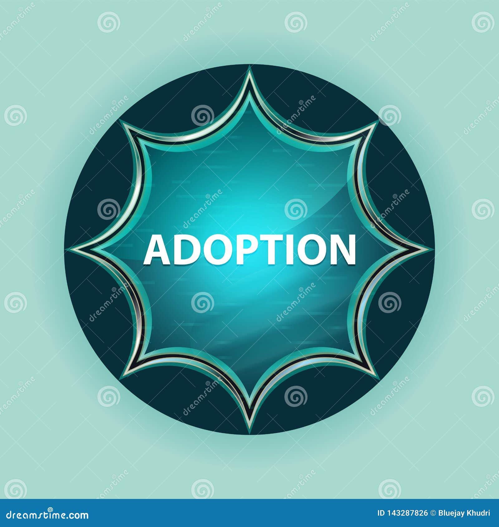 Bakgrund för blått för himmel för knapp för magisk glas- sunburst för adoption blå
