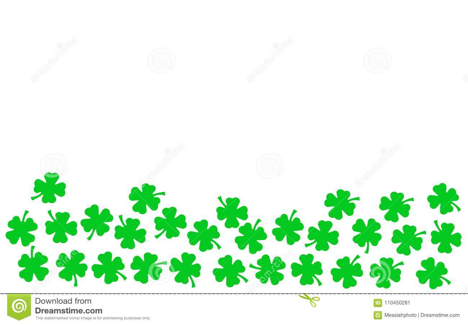 Bakgrund för dag för St Patricks festlig - övregräns av gröna quatrefoils som isoleras på vit