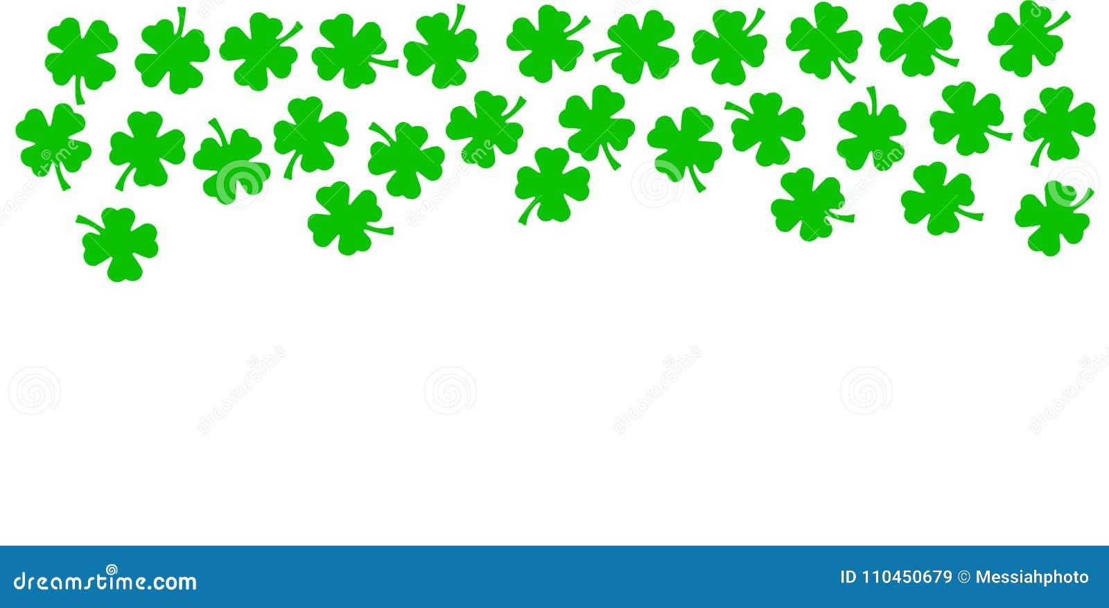 Bakgrund för dag för St Patricks festlig - övregräns av gröna quatrefoils som isoleras på vit bakgrund