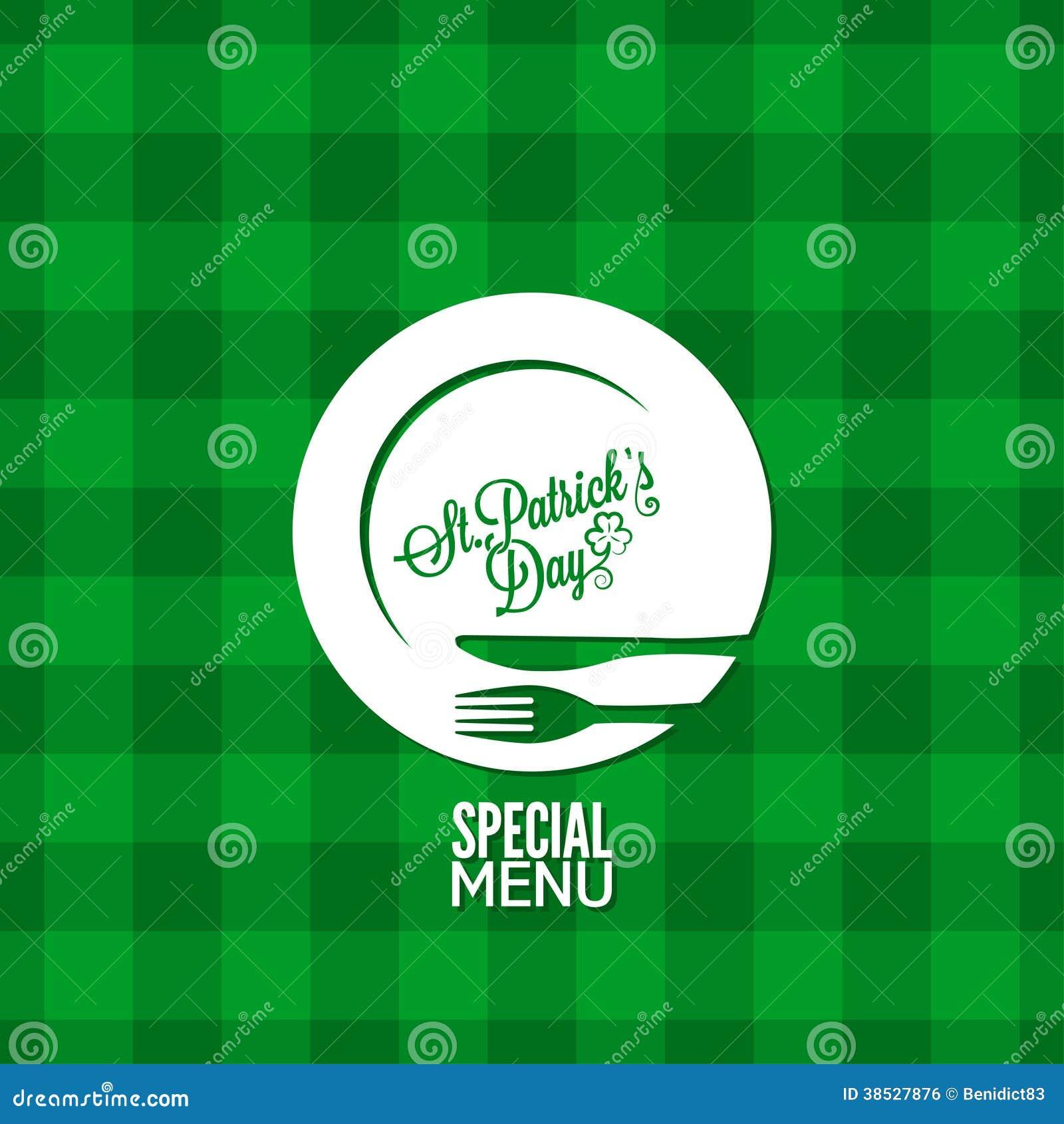 Bakgrund för design för meny för ferie för Patrick dagparti
