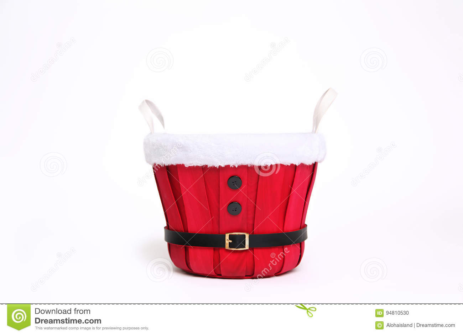 Bakgrund för Digitalt fotografi av röd Santa Christmas Bucket Isolated On vit