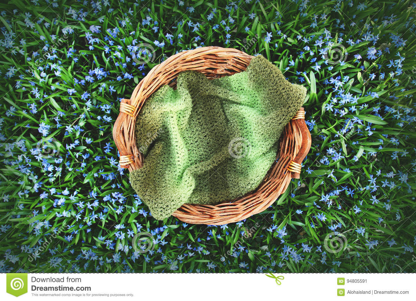 Bakgrund för Digitalt fotografi av vårblommafältet och träkorgstöttan